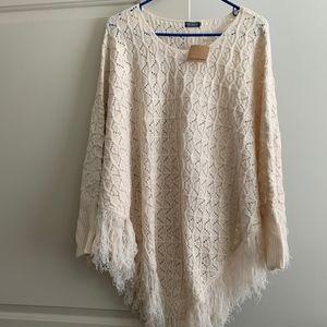 Earthbound Sweater Poncho Cream NWT Size XL